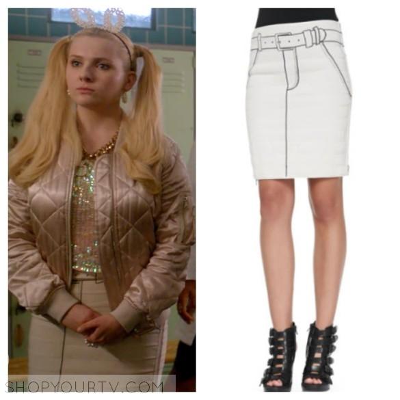 608d97ac763 Scream Queens: Season 2 Episode 1 Chanel #5's Ivory Stitch Pencil Skirt