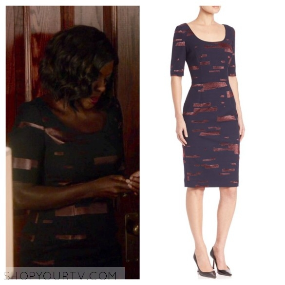 annalise keating's navy blue metallic dress, htgawm