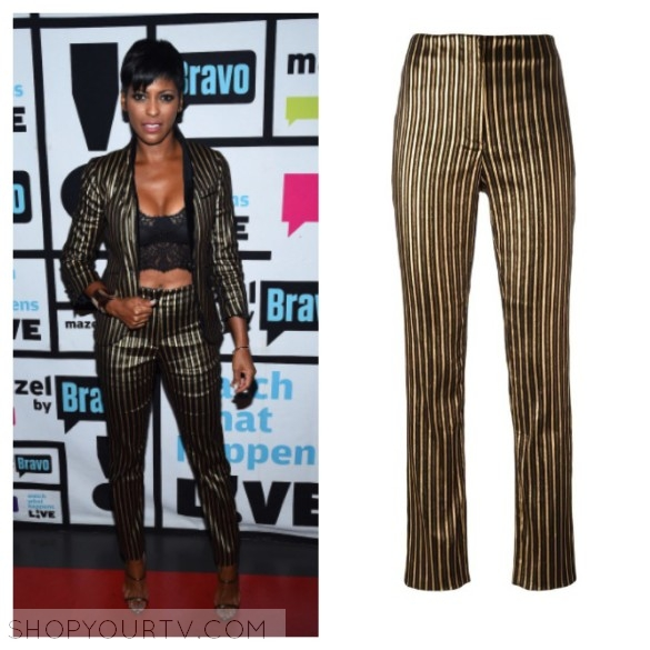 tamron hall's gold and black striped pants