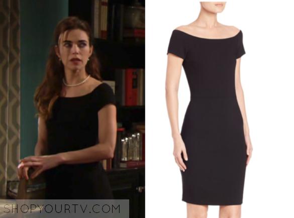 victoria newman's black off the shoulder dress