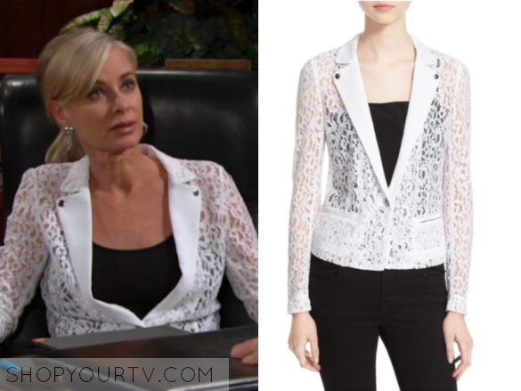 THE KOOPLES ONE-BUTTON LACE JACKET