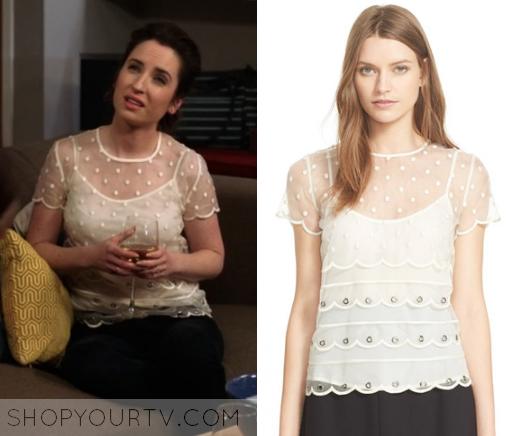 Life in Pieces: Season 1 Episode 13 Jen's White Mesh Dot Top   Shop