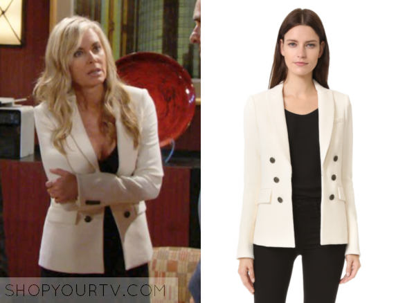 b7a7334b08e21 The Young and the Restless  October 2016 Ashley s Beige Double Breasted  Blazer