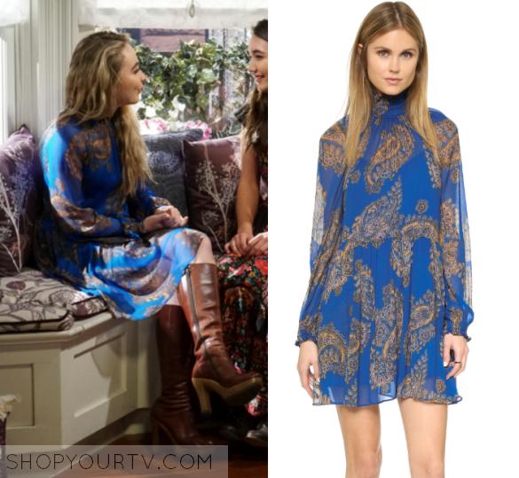 Girl Meets World Season 3 Episode 19 Maya S Blue Printed Dress Shop Your Tv