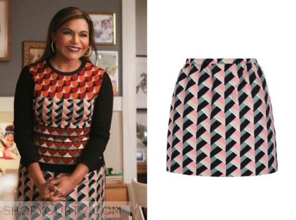 4654caee3d The Mindy Project: Season 5 Episode 10 Mindy's Geometric Basket Weave Mini  Skirt
