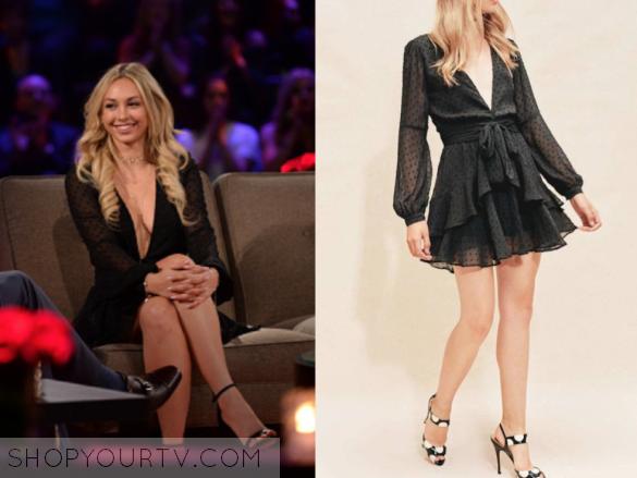 6bf5292811b The Bachelor  Season 21 Episode 11 Corinne s Black Sheer Dot Ruffled Mini  Dress