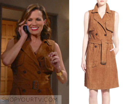 55111e902 The Young and the Restless: March 2017 Chelsea's Brown Suede Trench  Sleeveless Dress