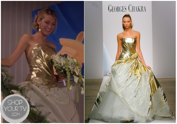Serena Van Der Woodsen Blake Lively Wear This Gorgeous Gold Wedding Dress At The End Of Week S Finale Episode Gossip