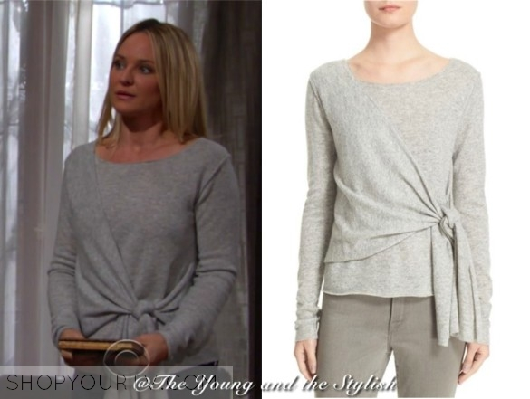 The Young And The Restless March 2017 Sharon S Grey Wrap Front Sweater Shop Your Tv