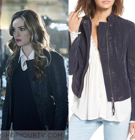 5b45ea3ce88ab1 THE FLASH  SEASON 3 EPISODE 7 CAITLIN S NAVY FAUX LEATHER JACKET
