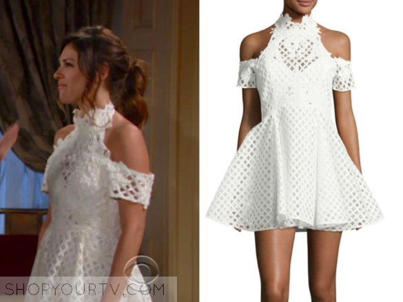 chloe mitchell, the young and the restless, white lace cold shoulder dress