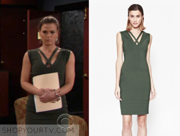 phyllis newman, french connection fast quinn dress, the young and the restless, gina tognoni, green dress