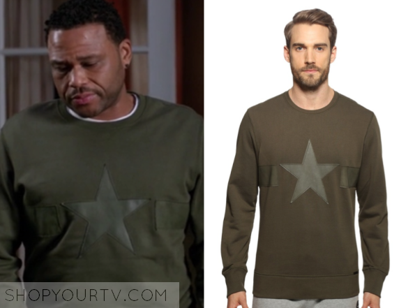 DIESEL LEATHER TRIM STAR SWEATSHIRT