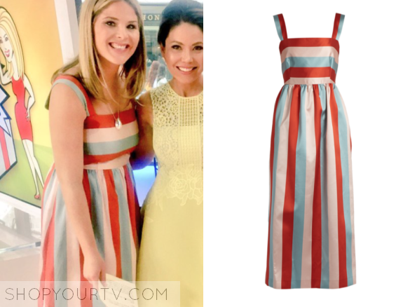 RED VALENTINO STRIPED MIDI DRESS