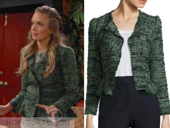 rebecca taylor green tweed jacket