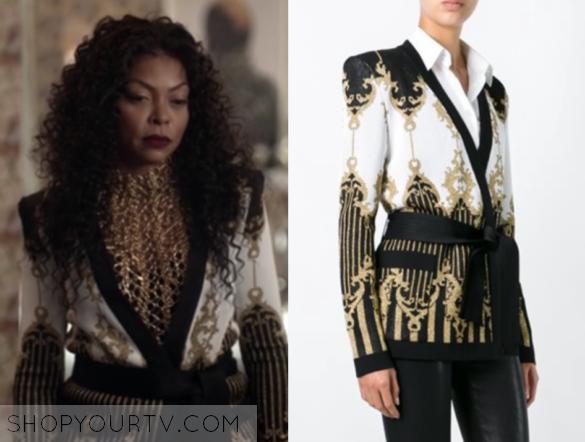 BALMAIN patterned baroque belted jacket
