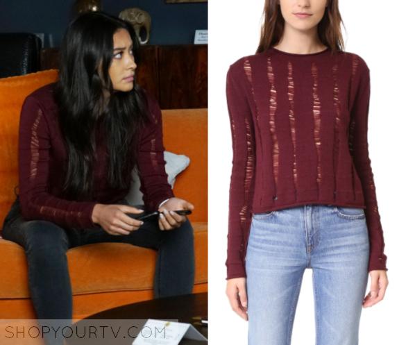 428b17e7f4 Pretty Little Liars  Season 7 Episode 18 Emily s Red Distressed Sweater