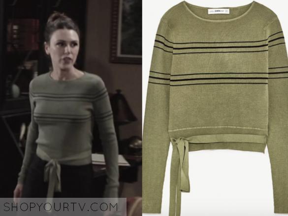 zara green striped sweater