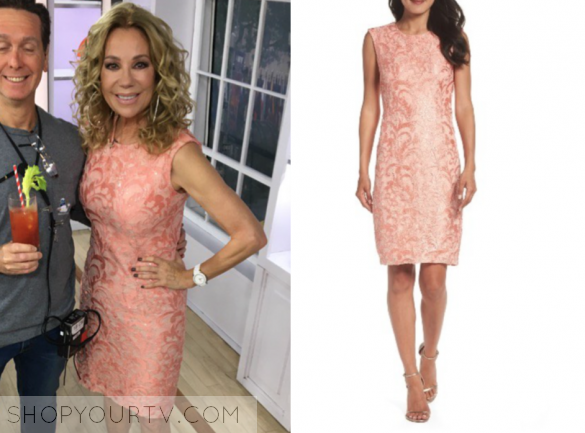 chetta b coral sequin lace sheath dress