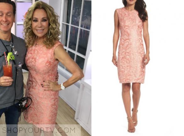 chetta b coral sequin lace sheath dress