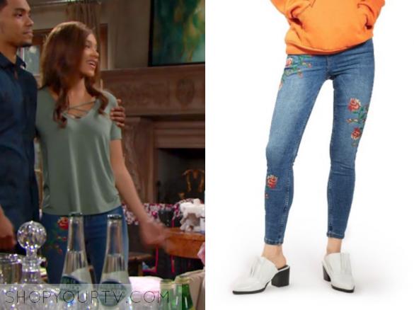 Topshop Jamie Embroidered Skinny Jeans.