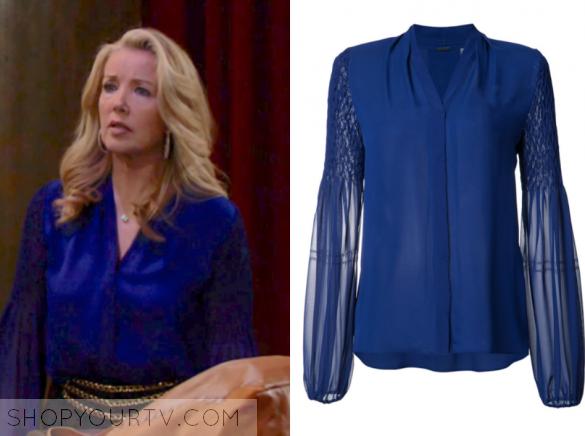 elie tahari blue silk blouse