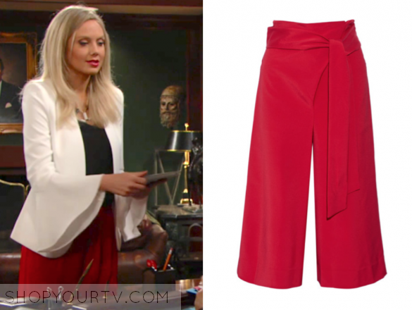 TIBI - CROPPED STRETCH-FAILLE WIDE-LEG PANTS - RED
