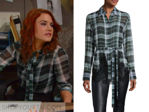 MCQ ALEXANDER MCQUEEN FLUID TARTAN PLAID SILK BLOUSE, GREEN