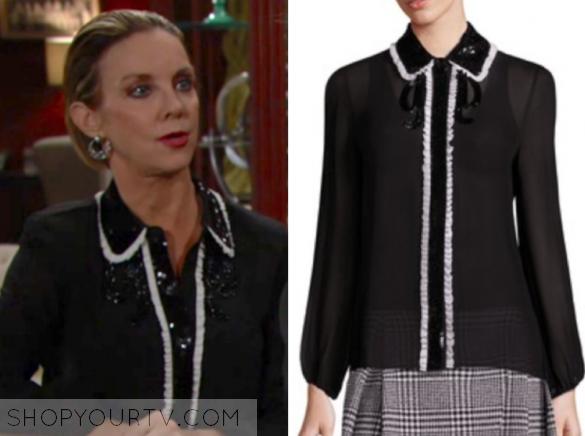 alice + olivia gigi embellished blouse