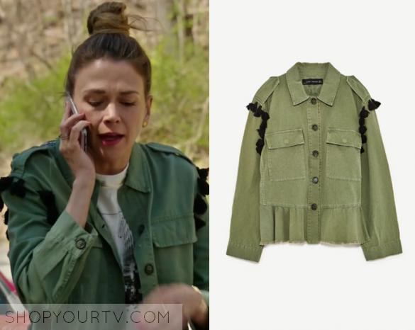 Younger Season 4 Episode 3 Liza S Khaki Green Pom Pom Jacket Shop