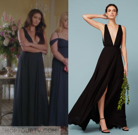 dc6fa7cc96 Pretty Little Liars  Season 7 Episode 20 Emily s Black Maxi Dress