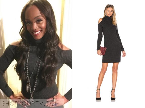 The Bachelorette Season 13 Episode 6 Rachels Grey Cold Shoulder Sweater Dress