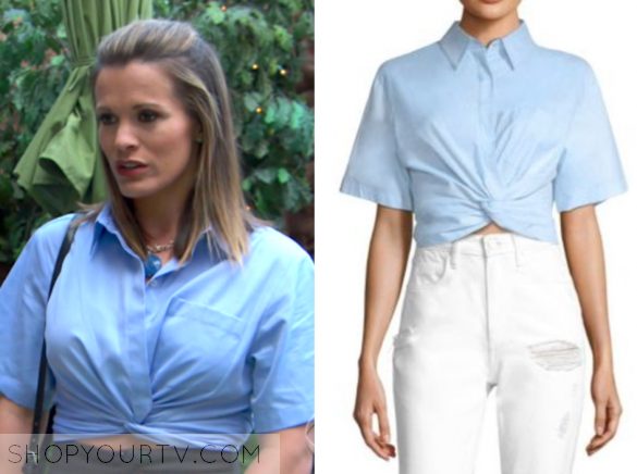 T BY ALEXANDER WANG COTTON TWILL TWISTED FRONT CROPPED SHIRT