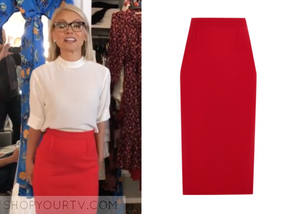ROLAND MOURET - ARRETON WOOL-CREPE PENCIL SKIRT - RED