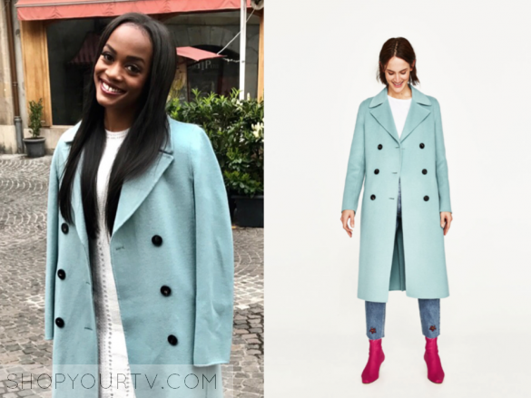 zara blue double breasted coat