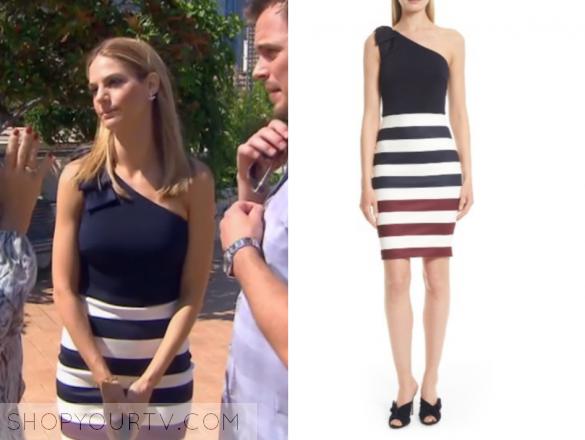 TED BAKER - HILILA ROWING STRIPE ONE SHOULDER DRESS
