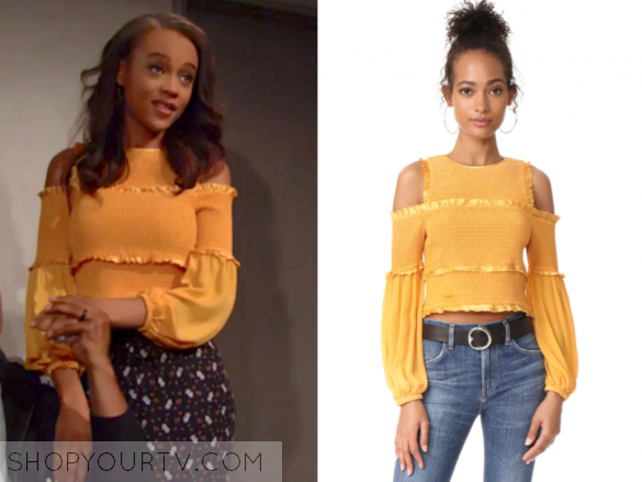 Cinq a Sept Pascal Printed Cold-Shoulder Silk Cropped Top in yellow
