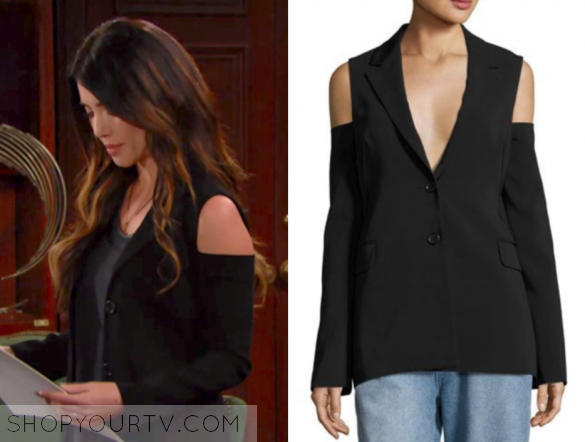 Robert Rodriguez Cold-Shoulder Two-Button Blazer,