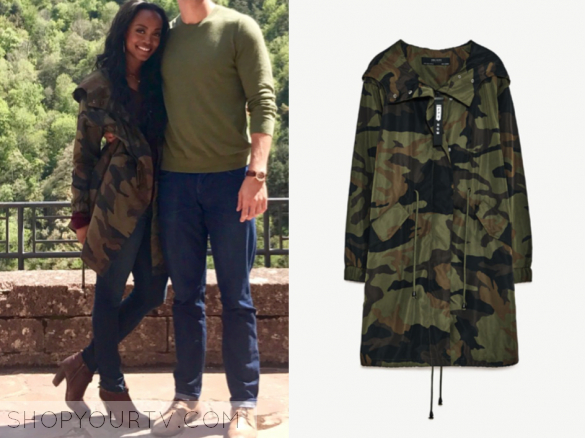 Rachel Lindsay Wears This Camouflage Printed Parka Jacket On The Bachelorette