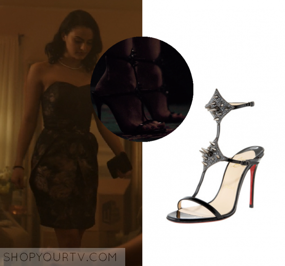 """129509977aee Veronica Lodge (Camila Mendes) wears these black studded spiked T Bar  Strappy sandal heels in this episode of Riverdale, """"Chapter One: The  River's Edge""""."""