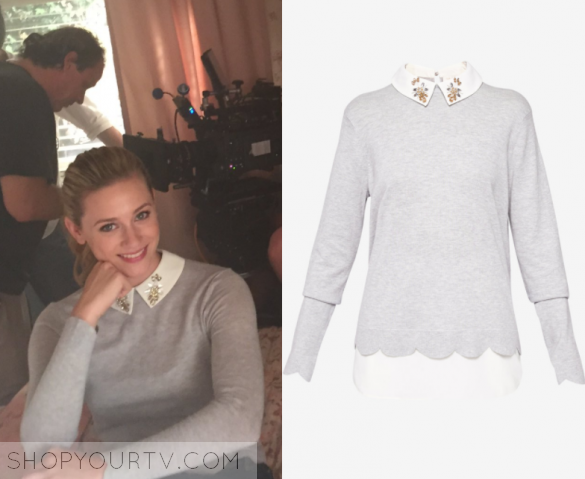 Riverdale Season 2 Betty S Grey Embellished Collar Sweater Shop