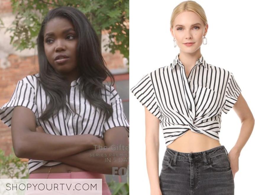 Star: Season 2 Episode 1 Alexandra's Striped Twist Crop Top | Shop