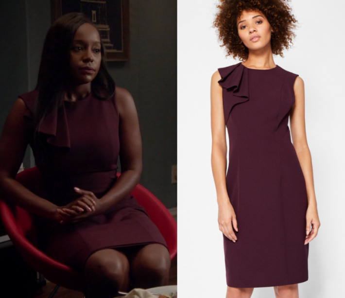 How to get away with murder fashion clothes style and wardrobe how to get away with murder season 4 episode 3 michaelas maroon pleat shoulder dress ccuart Images