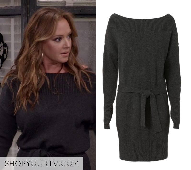 3d8293e68d1 Vanessa Cellucci (Leah Remini) wears this dark grey off shoulder tie front  waist sweater dress in this episode of Kevin Can Wait