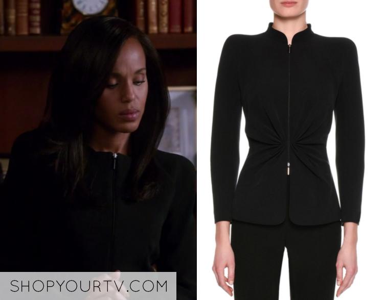 5e1f490ad3f8 Scandal  Season 7 Episode 1 Olivia s Black Zip Up Blazer