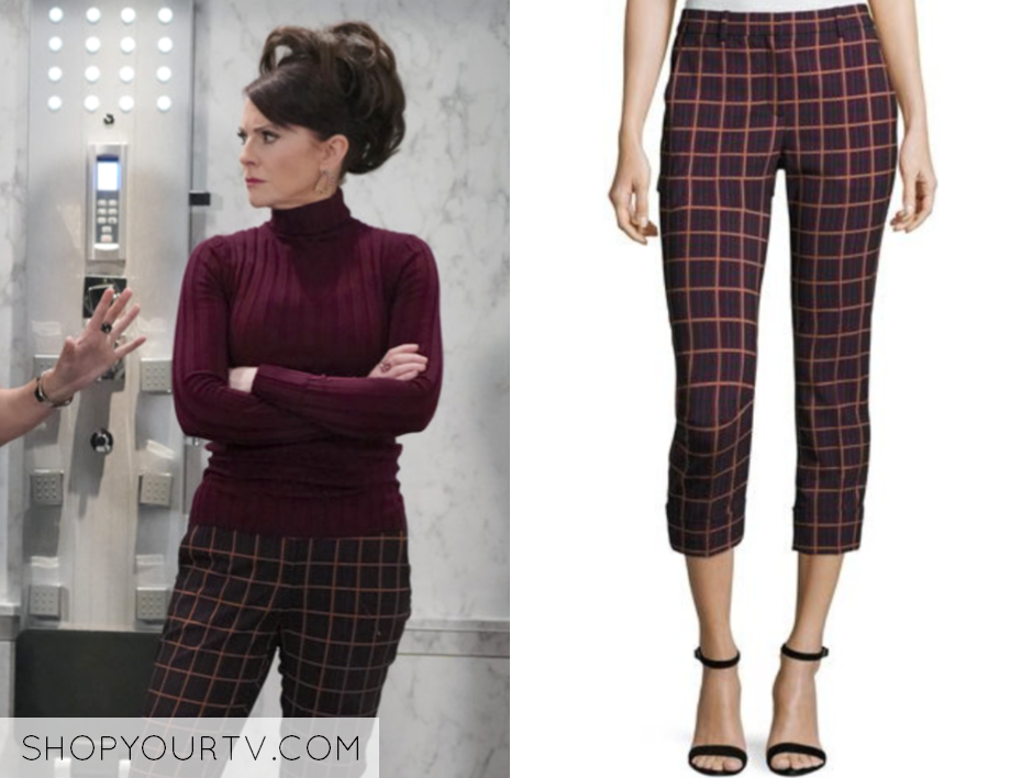 Theory Crop Cuff York Plaid Pants