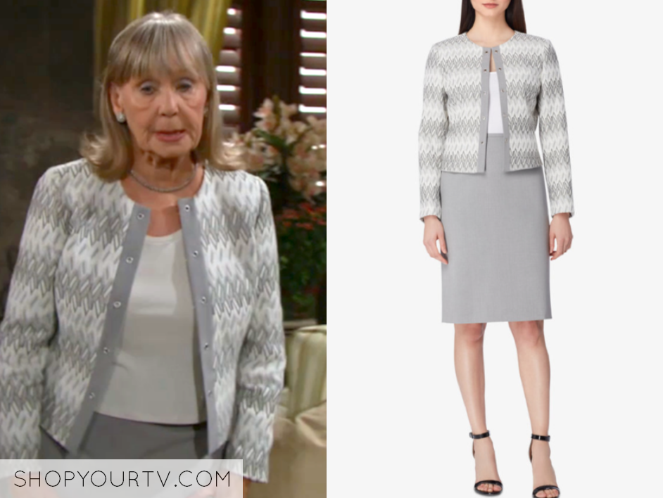 Tahari Asl Jacquard Jacket & Gray Skirt Suit