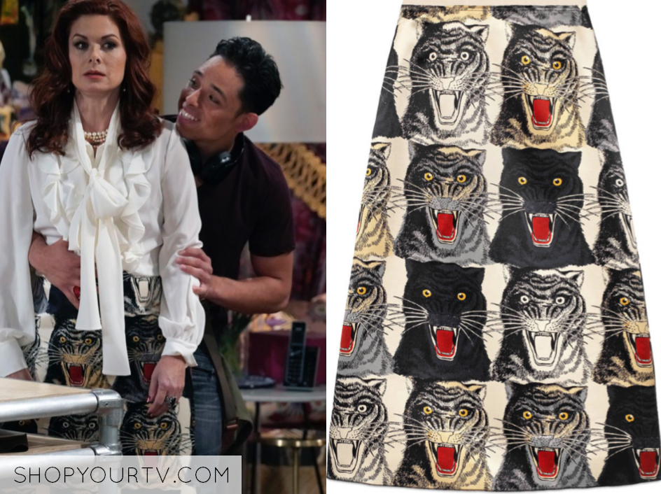 gucci Tiger Face silk skirt