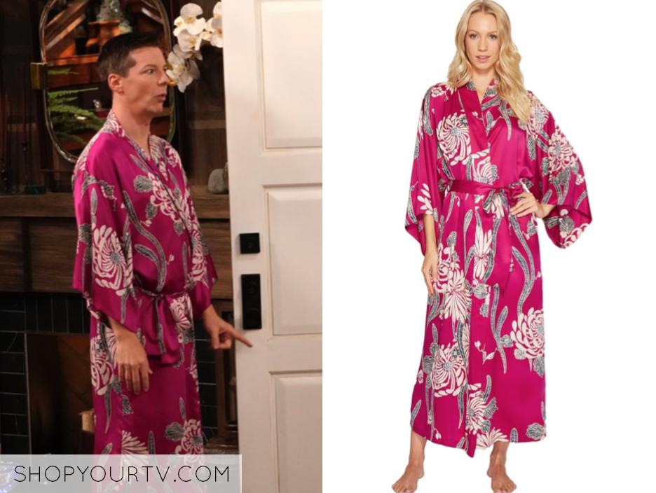 Natori Aziome Floral-Print Long Robe