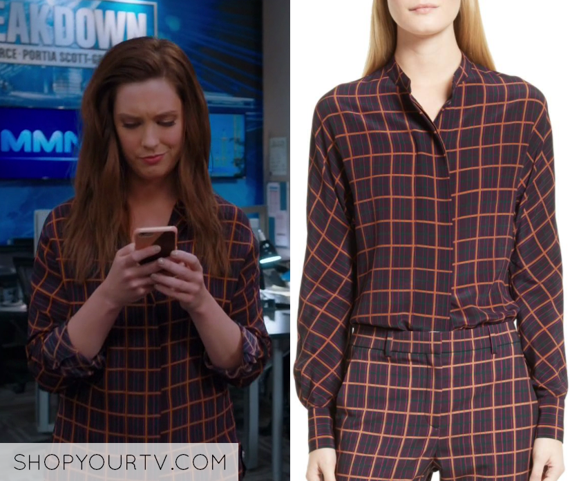 d0a00c20338c3 Great News  Season 2 Episode 5 Katie s Grid Printed Button Front Shirt